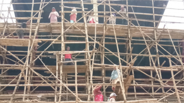 Woman building temple