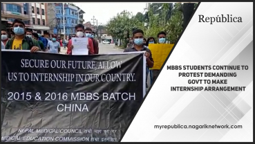MBBS students continue to protest demanding govt to make internship arrangement