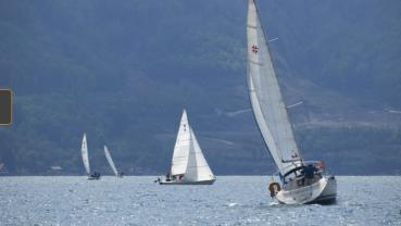 Hundreds of boats line up on Lake Geneva in border art project
