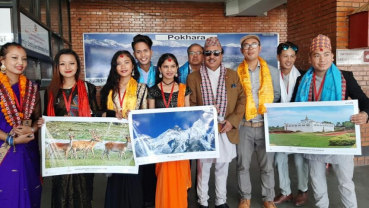 Sambhujeet Baskota and his team performing in China supporting VisitNepal2020