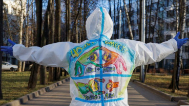 PPE art brings a smile to Moscow's COVID patients