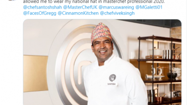 Chef Santosh Shah flaunts Dhaka topi