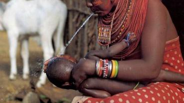 Unusual greeting of the Maasai tribe