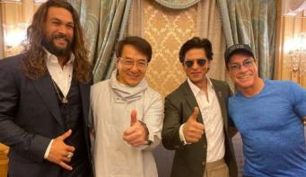 Shah Rukh meets his 'heroes' Jackie Chan and Jean-Claude Van Damme