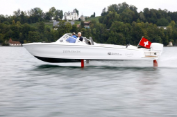 'Flying' electric speedboat debuts on Switzerland's lakes