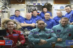 Russian film crew in orbit to make first movie in space