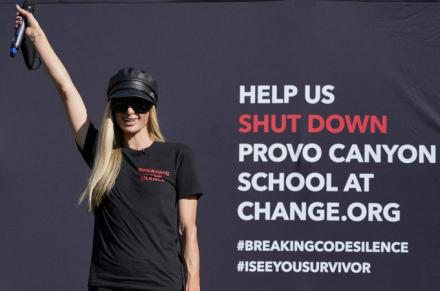 Paris Hilton protest calls for closure of Utah school