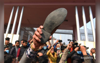 PHOTOS: Shoes hurled at 'regression' in front of Narayanhiti Royal Palace Museum