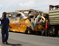 27 people killed in bus-trailer truck collision in Kenya