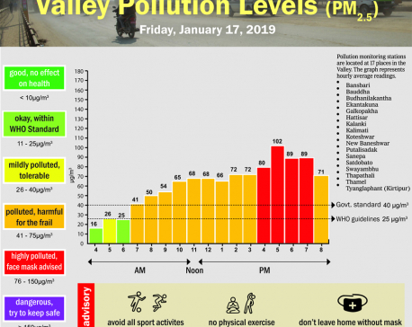 Valley pollution levels for January 17, 2020