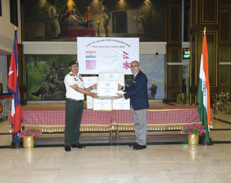 Indian Army gifts 100,000 doses of COVID-19 vaccine to Nepal Army