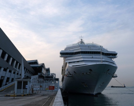 Cruise ship passengers disembark in Singapore