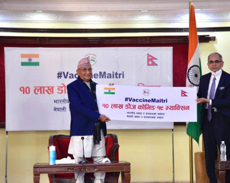 Indian ambassador hands over one million doses of COVID-19 vaccine to PM Oli