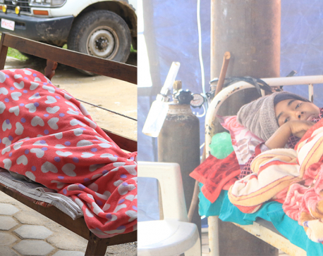 Gorkha Hospital overwhelmed; new mother undergoing treatment inside a tent