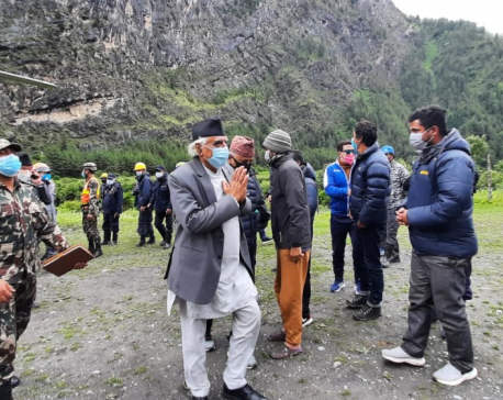 Gandaki CM visits flood-hit Manang after four days of disaster (with photos)