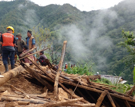 Three killed as landslide damages a house