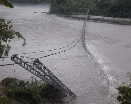 Bridge collapse halts flow of food supply in Manang district
