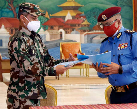 Nepal Army provides 300 sets of weapons to Nepal Police