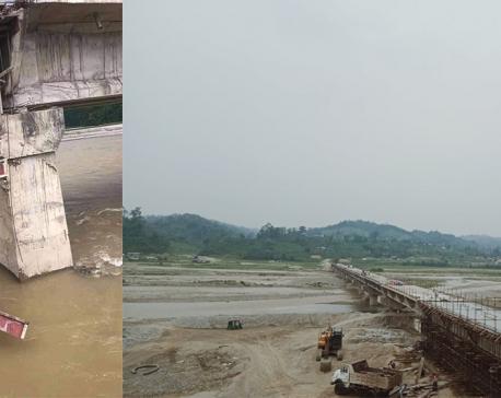 Locals using makeshift ladders to climb unfinished bridge to cross Bagmati