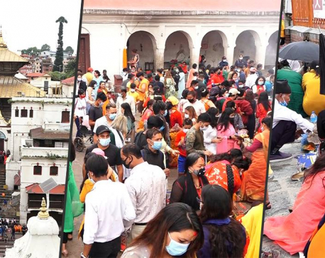 Devotees throng Pashupatinath Temple despite high risk of COVID-19 infection
