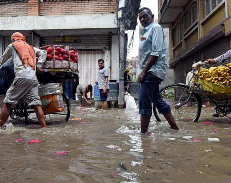 Roads of Kathmandu Valley inundated by a single nightlong rainfall