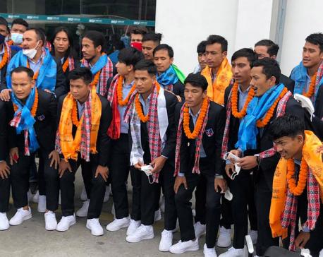 Nepali football team returns home