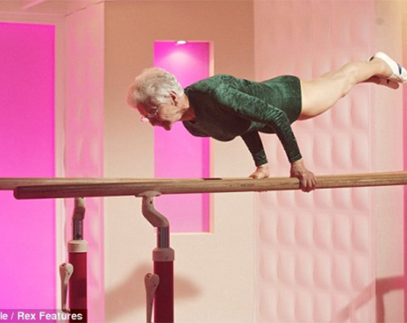 World's oldest gymnast aged 86 performs jaw-dropping routine on parallel bars