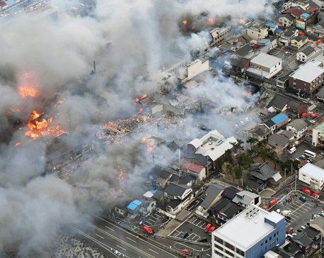 At least 140 buildings on fire in wind-swept blaze in Japan
