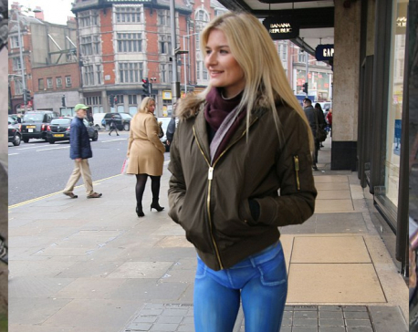 When model strolled down London street in spray-painted jeans…