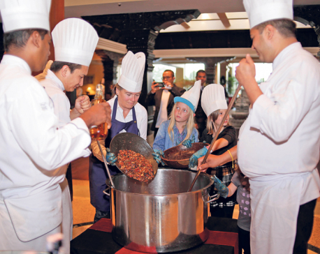 Cake mixing celebration at Hyatt Regency