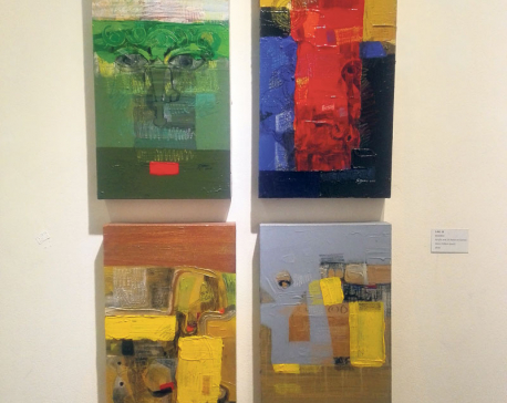 Art exhibition by Kiran Manandhar and son