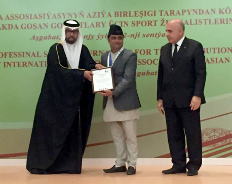 Journalist Phuyal awarded AIPS Asia Gold Medal