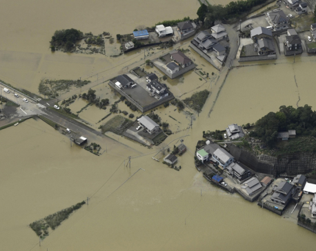 Typhoon causes serious flooding in southern Japan