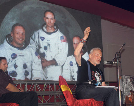 Moon astronaut Aldrin encourages students in Biratnagar