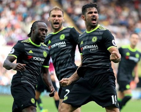 Costa's acrobatics earn Chelsea 2-2 draw at Swansea