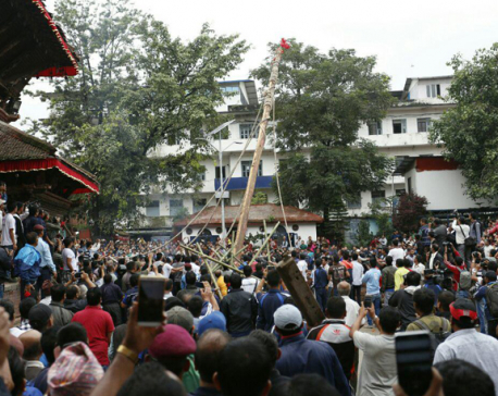 2 injured as Indra Jatra lingo collapses in Basantapur