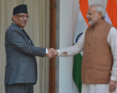 PM Dahal meets his Indian counterpart Modi