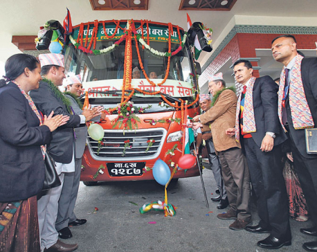 Pokhara-Delhi bus service flagged off