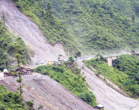 Landslide obstructs Narayangadh-Mugling road