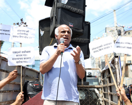 Dr KC joins demonstration in front of PM's residence