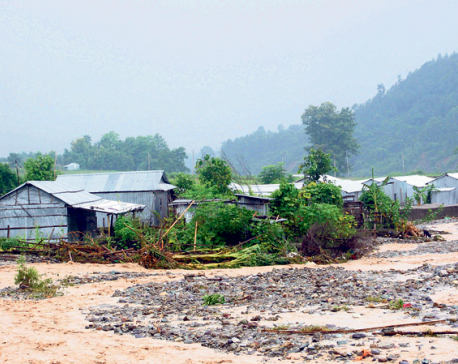 Floodwaters threaten settlement in Dharan