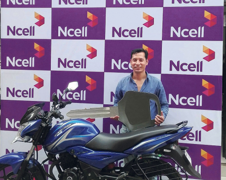 Prem Krishna Shrestha wins bike in Ncell's loyalty project