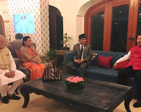 PM Dahal, Modi and Xi hold trilateral meeting in Goa