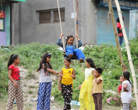 The joy of swinging during Dashain
