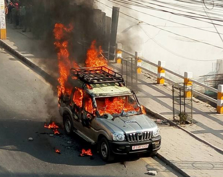 Govt vehicle set on fire in New Baneshwar
