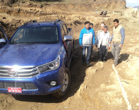 Locals in Jaljala rural municipality of Parbat  elated over first-time access to road