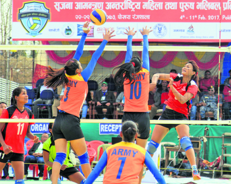 Win for departmental teams in Srijana volleyball