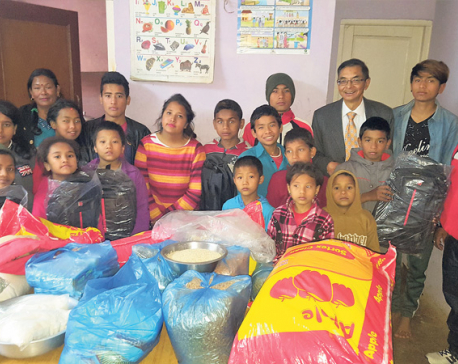 Himalayan Bank distributes support material to children