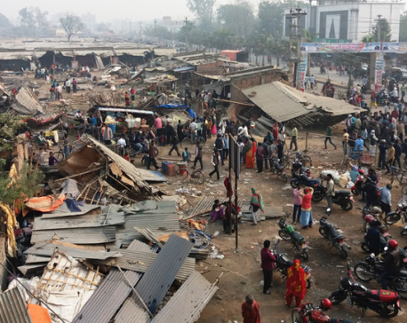 Birgunj Sub Metropolis bulldozes vegetable vendors' flimsy stalls