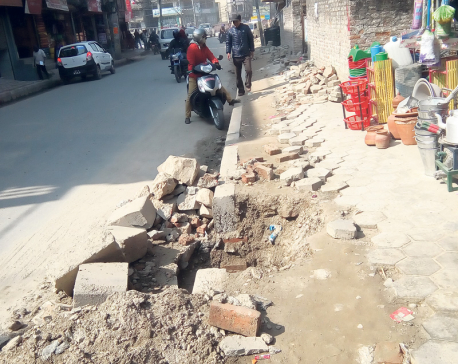Melamchi pipe laying work creates traffic snarls in Valley